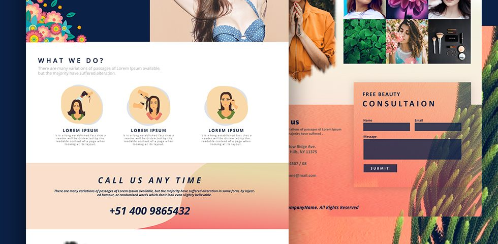 Beauty & Cosmetics landing - Web Design by Abdul Mateen - Graphic Designer & Front-End-Developer - Islamabad, Pakistan